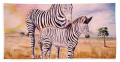 Zebra And Foal Bath Towel