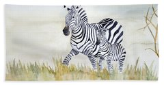 Zebra Family Hand Towel by Laurel Best