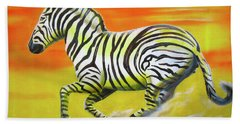 Zebra Kicking Up Dust Bath Towel