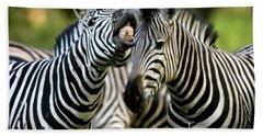 Zebra Showing Its Teeth, Equus Quagga Bath Towel