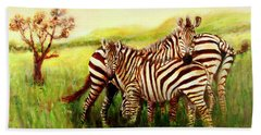 Zebras At Ngorongoro Crater Bath Towel by Sher Nasser