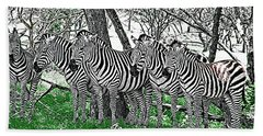 Hand Towel featuring the photograph Zebras by Kathy Churchman