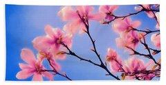 Cherry Blossums In Digital Watercolor Bath Towel