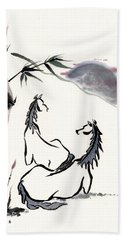 Zen Horses Evolution Of Consciousness Bath Towel by Bill Searle