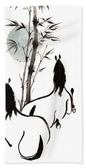 Hand Towel featuring the painting Zen Horses Moon Reverence by Bill Searle