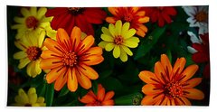 Bath Towel featuring the photograph Zinnia Kaleidoscope Of Color by Nick Kloepping