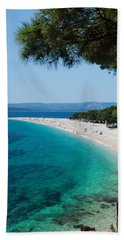 Zlatni Rat Beach With Hvar Island Hand Towel