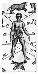 Zodiac Man Drawing Relating Astrology Hand Towel