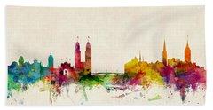 Zurich Switzerland Skyline Hand Towel by Michael Tompsett