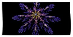 Digital Fractal Art Abstract Blue Purple Flower Image Black Background Hand Towel