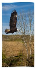 Bath Towel featuring the photograph  Eagle Circleing Her Nest by Randall Branham