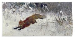 Fox Being Chased Through The Snow  Hand Towel