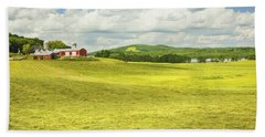 Hay Harvesting In Field Outside Red Barn Maine Bath Towel
