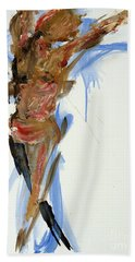 Hand Towel featuring the painting 04784 Whoopee by AnneKarin Glass