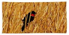 Blackbird In The Reeds Hand Towel