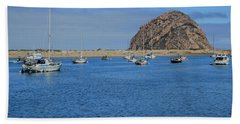Boats And Blue Water Hand Towel