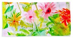 Hand Towel featuring the painting Daisy Daisy by Beth Saffer