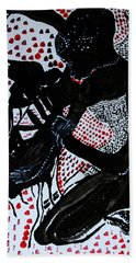 Hand Towel featuring the painting Dinka Bride by Gloria Ssali