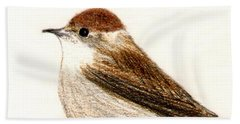 Hand Towel featuring the drawing Female Blackcap  by Barbara Moignard