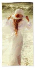 Girl With Sun Hat Bath Towel