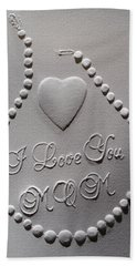 Hand Towel featuring the relief I Love You Mom by Suhas Tavkar