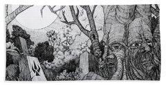 Hand Towel featuring the drawing In My Garden  by Mariusz Zawadzki