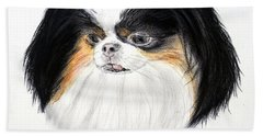 Bath Towel featuring the drawing Japanese Chin Dog Portrait by Jim Fitzpatrick