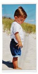 Little Boy On The Beach Bath Towel