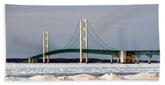 Mackinac Bridge In Winter Bath Towel