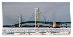 Mackinac Bridge In Winter Hand Towel