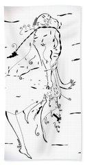 Hand Towel featuring the drawing Malipenga Dance - Malawi by Gloria Ssali