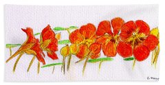 Hand Towel featuring the drawing Nasturtiums by Barbara Moignard