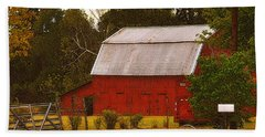 Hand Towel featuring the photograph Ozark Red Barn by Lydia Holly