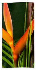 Photograph Of A Parrot Flower Heliconia Hand Towel