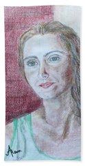 Bath Towel featuring the drawing Self Portrait by Anna Ruzsan