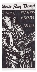 Bath Towel featuring the drawing Stevie Ray Vaughn by Jeremiah Colley