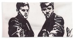 Bath Towel featuring the drawing The Boondock Saints by Jeremiah Colley