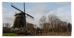Bath Towel featuring the digital art Windmill In Amsterdam by Carol Ailles