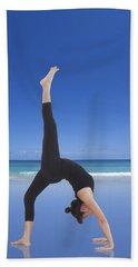 Woman Doing Yoga On The Beach Hand Towel