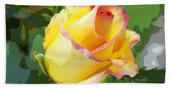 Hand Towel featuring the photograph Yellow Rose by Anne Mott