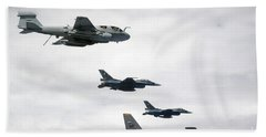 A B-52 Stratofortress Leads A Formation Hand Towel