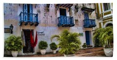 Colonial Buildings In Old Cartagena Colombia Hand Towel