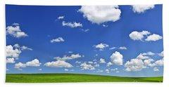 Green Rolling Hills Under Blue Sky Hand Towel