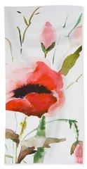 Watercolor Poppy Flower  Hand Towel