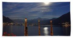Moon Light Over An Alpine Lake Bath Towel
