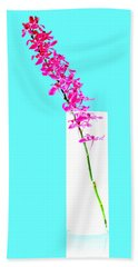 Red Orchid Bunch Hand Towel by Atiketta Sangasaeng