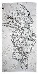 Hand Towel featuring the drawing Kiganda Dance - Uganda by Gloria Ssali