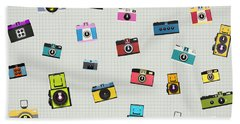Retro Camera Pattern Bath Towel