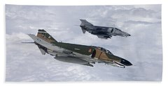 Two Qf-4es Fly Over The Gulf Of Mexico Hand Towel