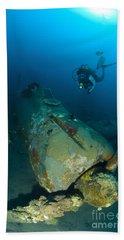 Diver Explores The Wreck Hand Towel